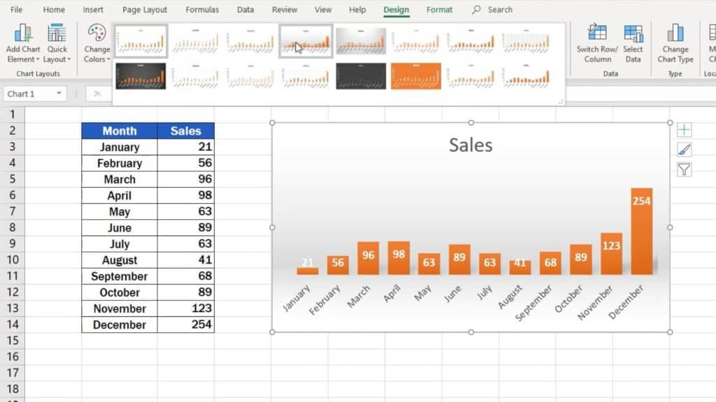 How to Make a Bar Graph in Excel - graph style