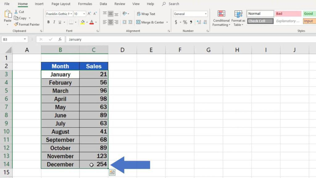 How to Make a Bar Graph in Excel - relevant data we want to present in graph