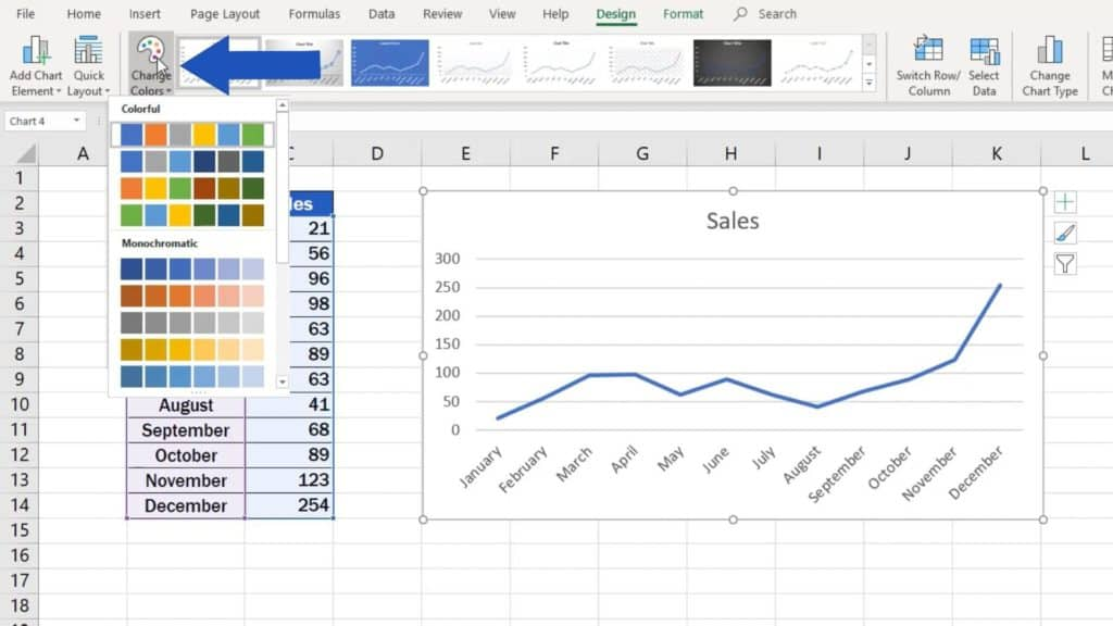 How to Make a Line Graph in Excel - change colour of the graph