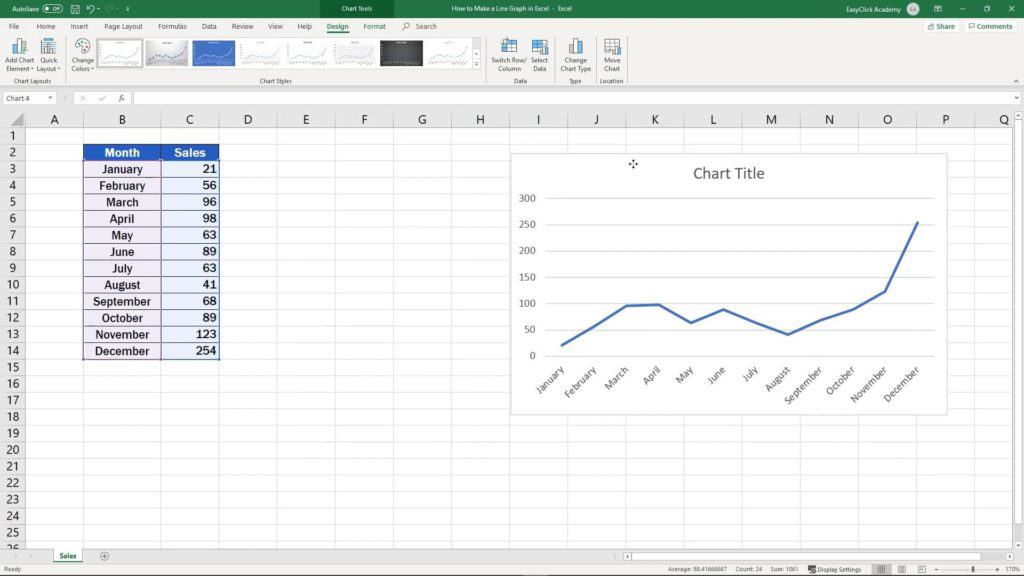 How to Make a Line Graph in Excel - change position of graph