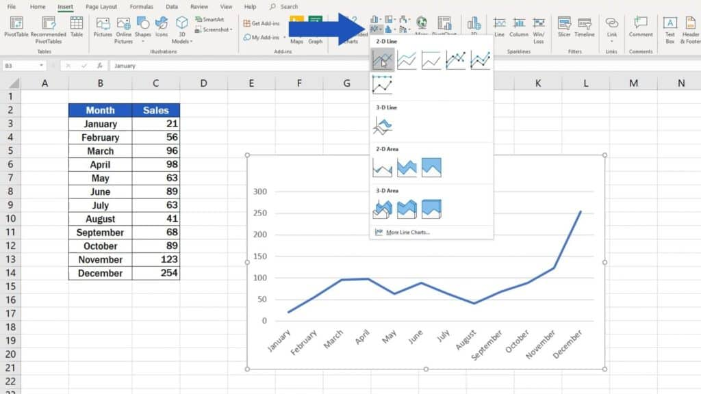 How to Make a Line Graph in Excel - line graph option