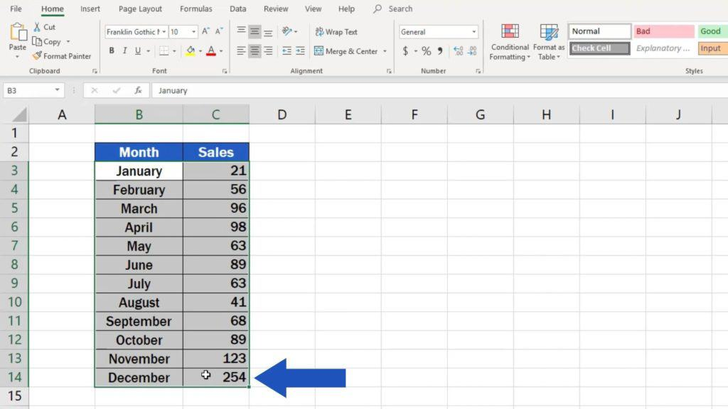 How to Make aLine Graph in Excel - pick the relevant data