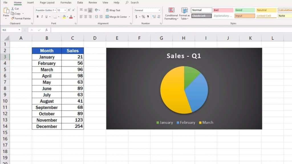 How to Make aLine Graph in Excel - pie chart