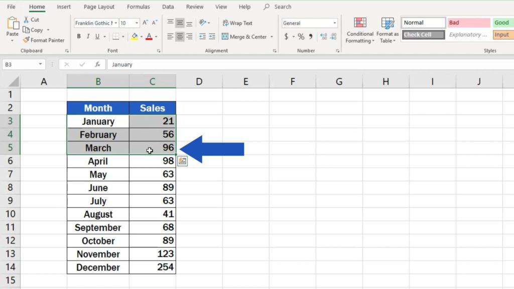 How to Make a Pie Chart in Excel - area with a relevant graph data