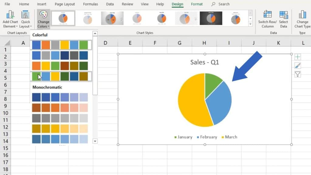 How to Make a Pie Chart in Excel - change colour of chart
