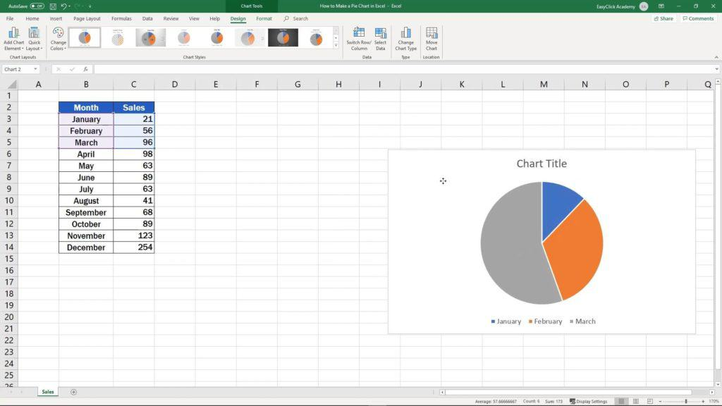 How to Make aPie Chart in Excel - change position of chart
