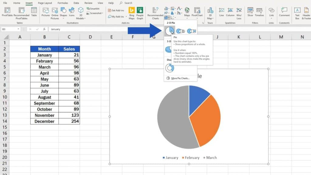 How to Make aPie Chart in Excel - first option pie chart