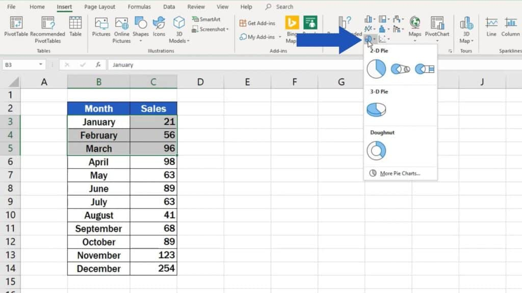 How to Make aPie Chart in Excel - pie chart option