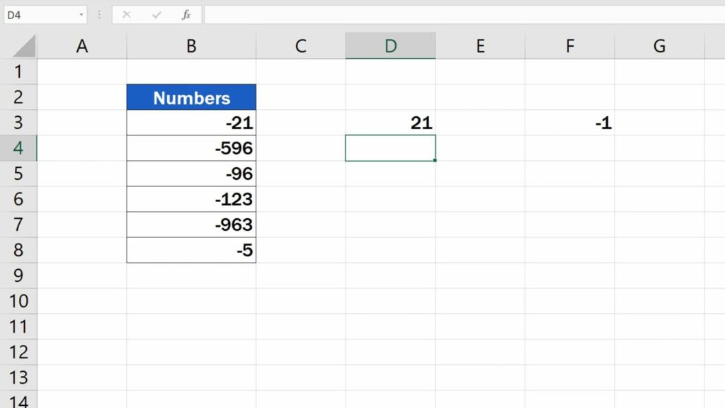 How to Change Negative Numbers to Positive in Excel - changed number in different column