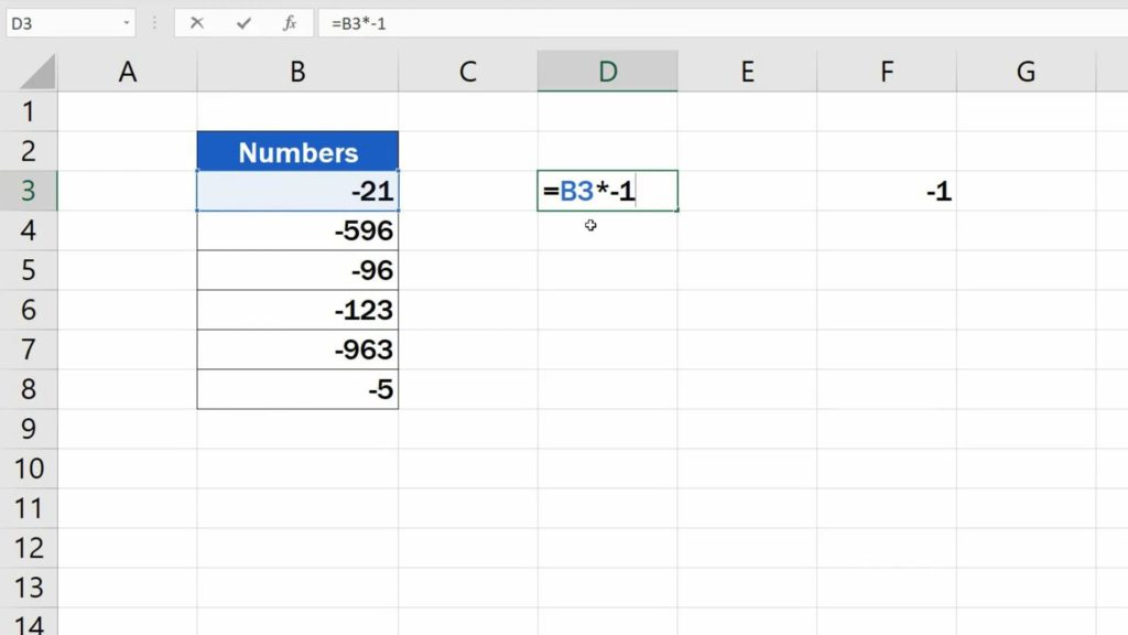 How to Change Negative Numbers to Positive in Excel - formula to change negative numbers to positive
