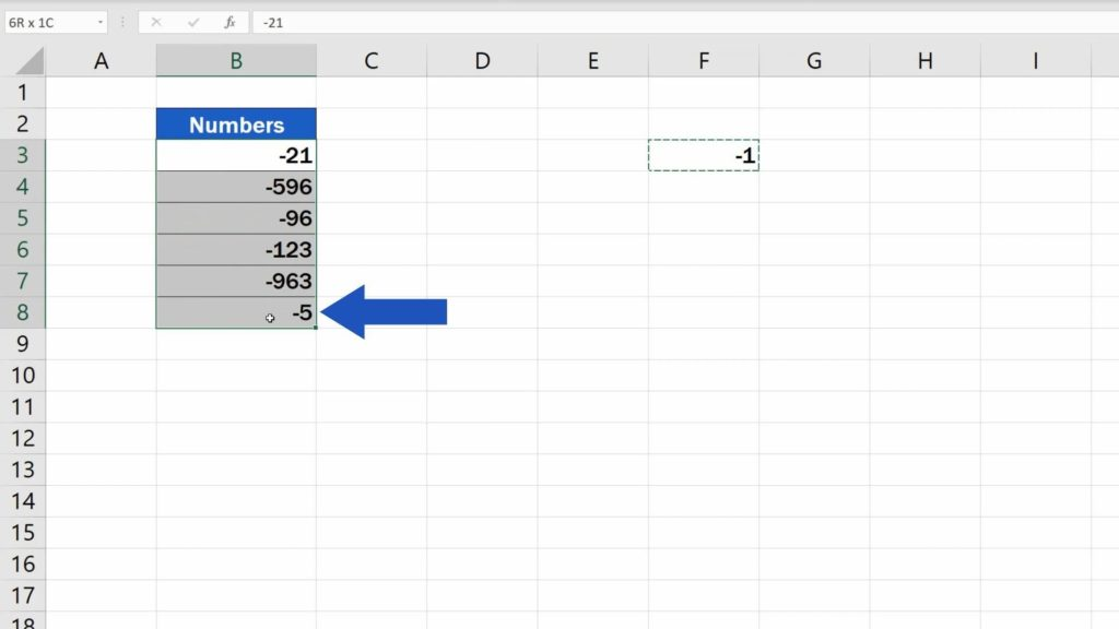 How to Change Negative Numbers to Positive in Excel - highlight area where you want change numbers