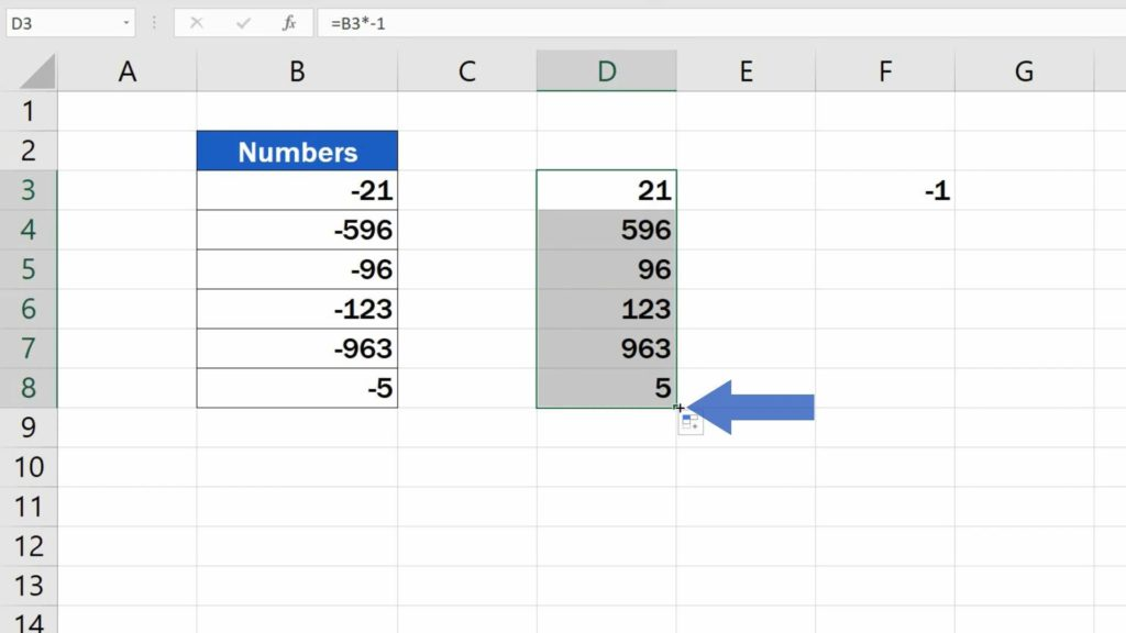 How to Change Negative Numbers to Positive in Excel - use formula in the rest of the cells