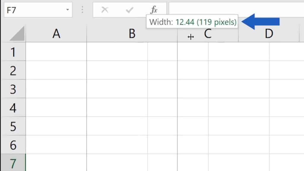 How to Change the Width of aColumn in Excel - number value of column width in Excel