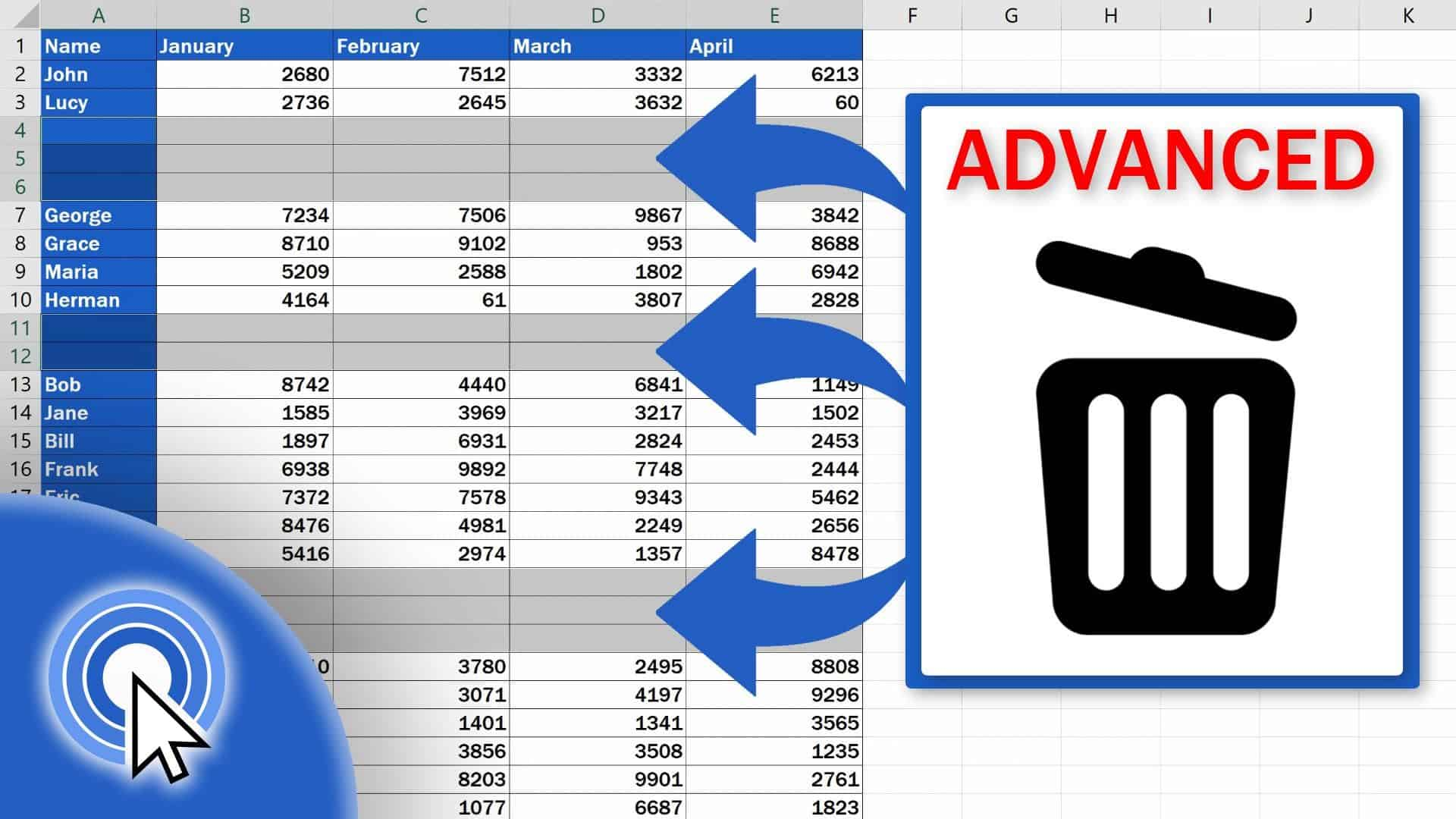 How to Remove Blank Rows in Excel - ADVANCE