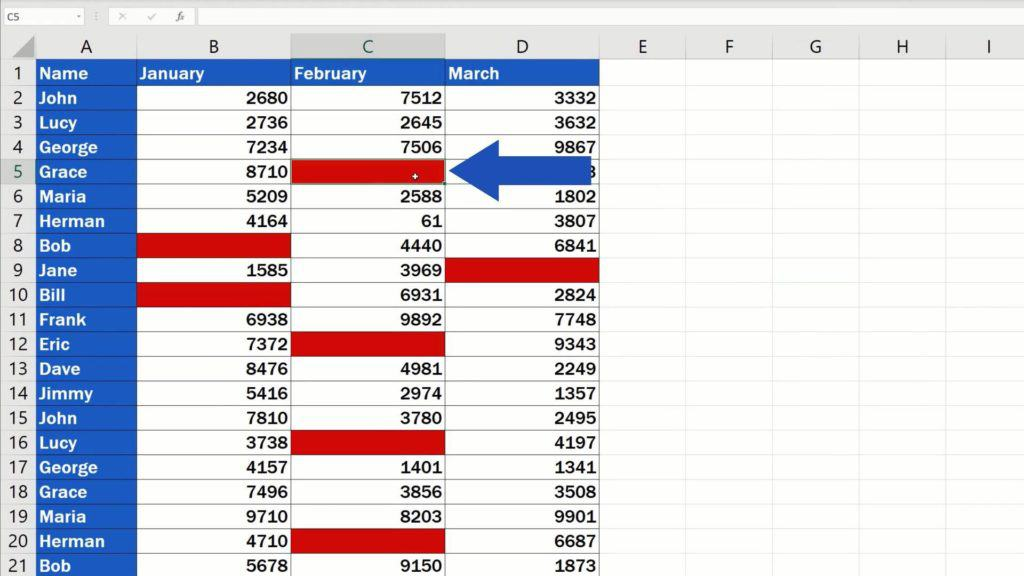 How to Highlight Blank Cells in Excel (Conditional Formatting) - blank cells changed colour