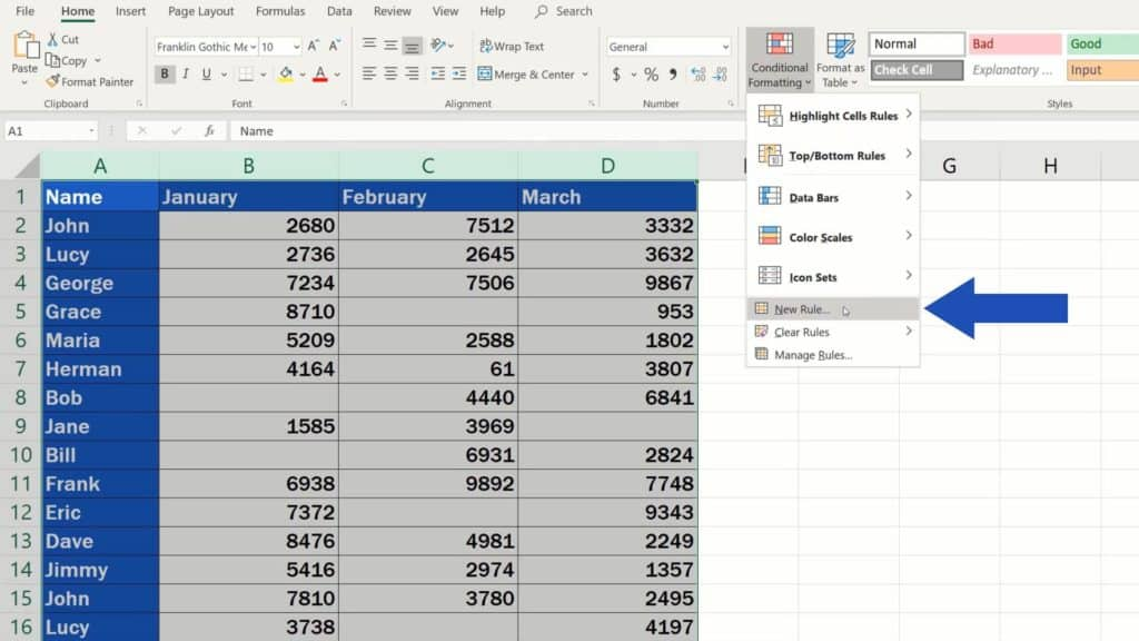 How to Highlight Blank Cells in Excel (Conditional Formatting) - select new rule from conditional formatting
