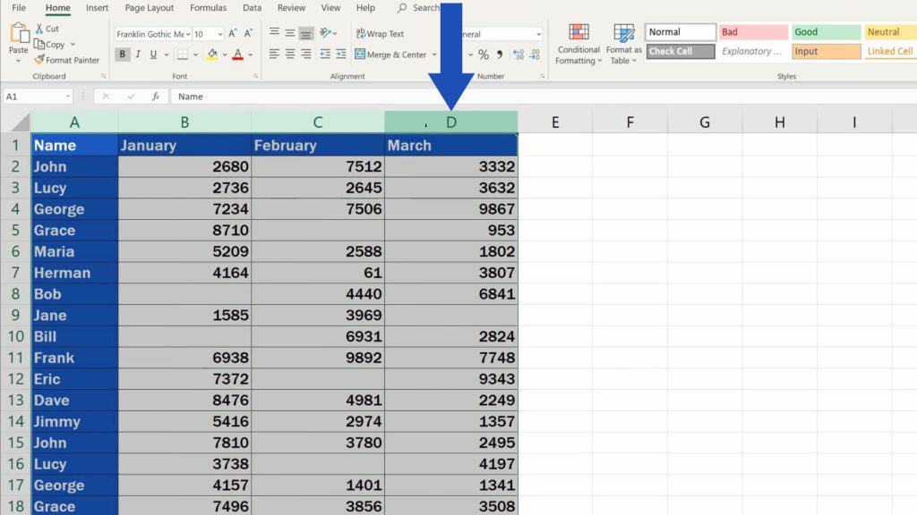 How to Highlight Blank Cells in Excel (Conditional Formatting) - select whole area of blank cells