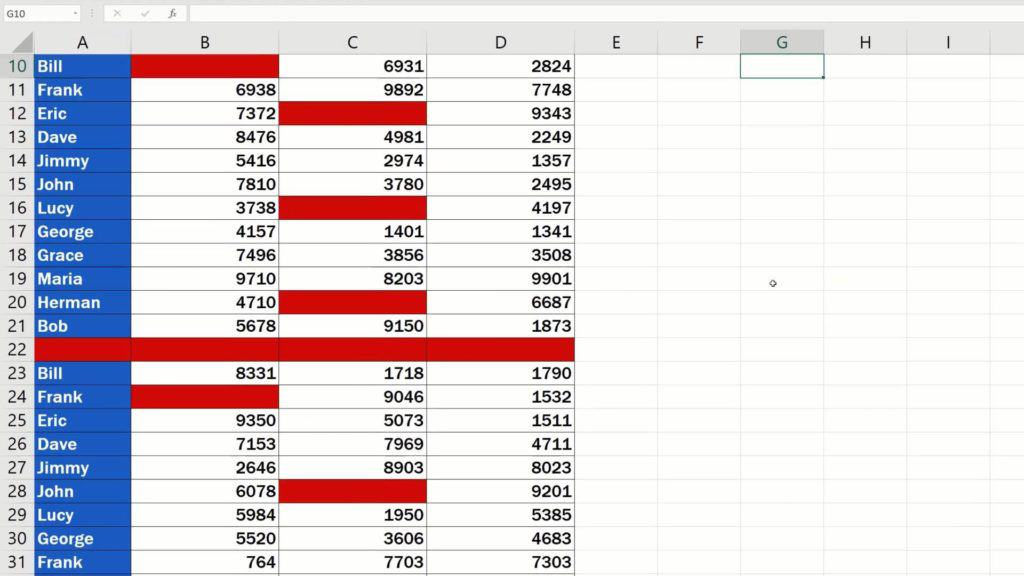 How to Highlight Blank Cells in Excel (Conditional Formatting) - table