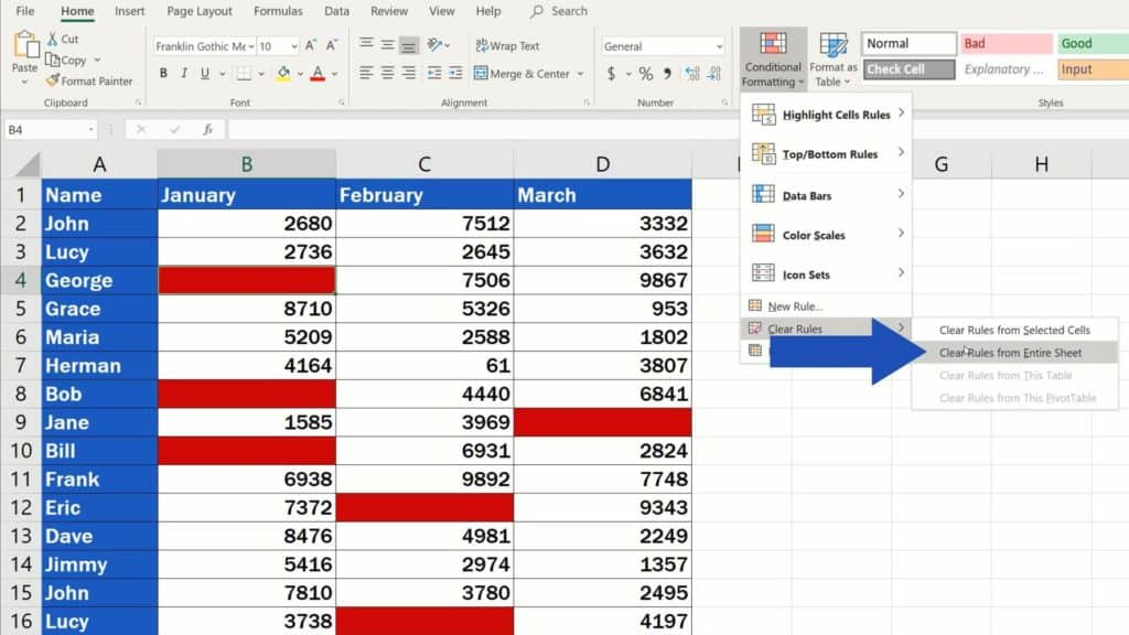 How to Highlight Blank Cells in Excel (Conditional Formatting) - turn off conditional formatting