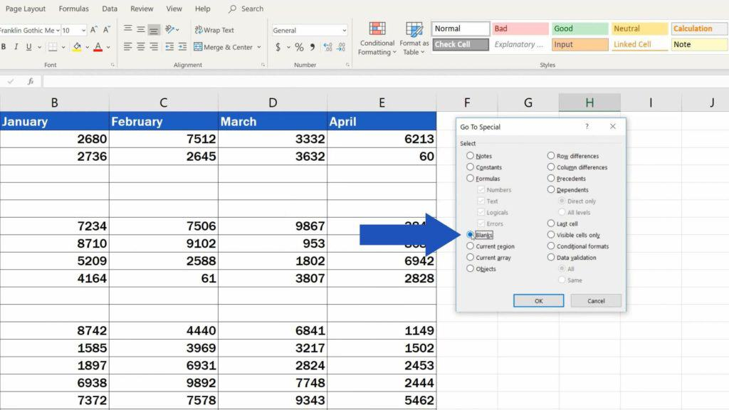 How to Remove Blank Rows in Excel - choose option blanks