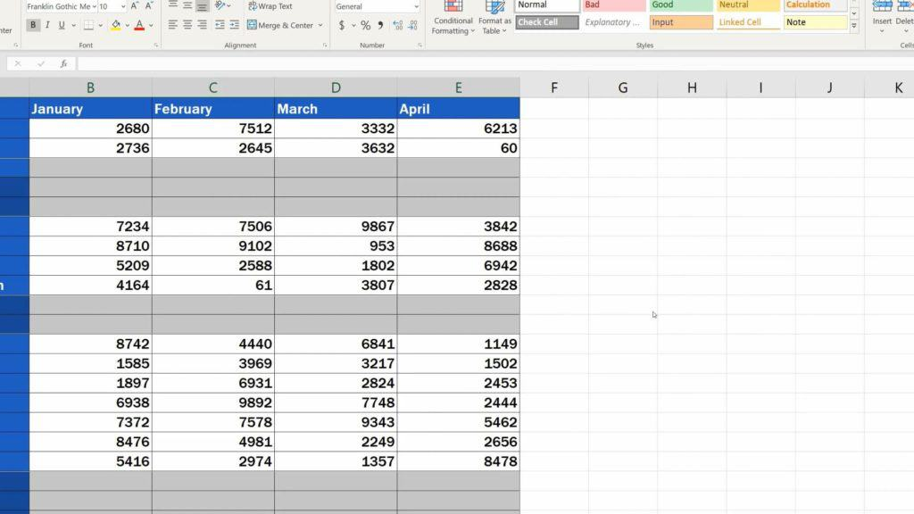 How to Remove Blank Rows in Excel - highlight blank row