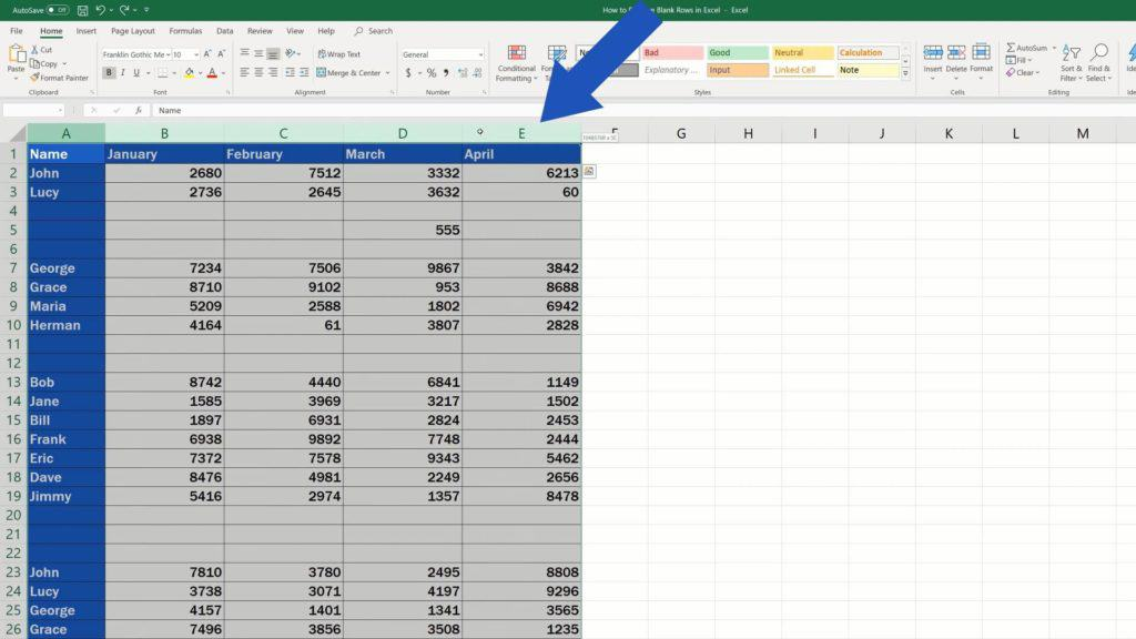 How to Remove Blank Rows in Excel - must be selected all the columns