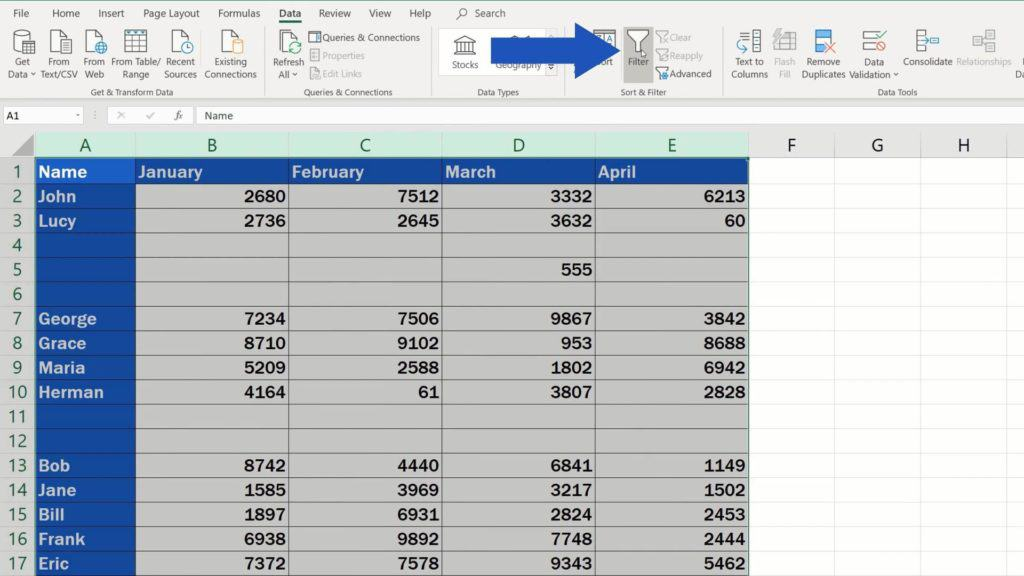 How to Remove Blank Rows in Excel - use filter option to remove blank rows
