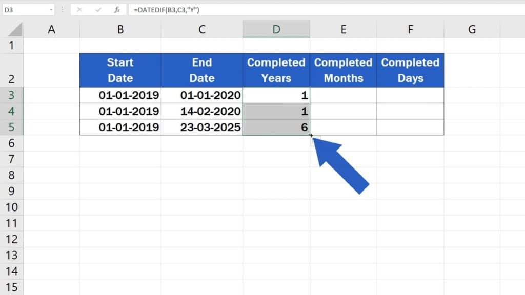 How to Calculate Difference Between Two Dates in Excel - copy formula in others rows