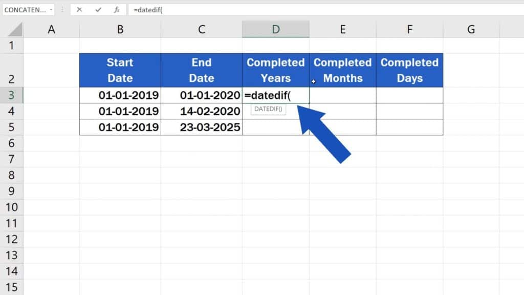 How to Calculate Difference Between Two Dates in Excel - datedif function