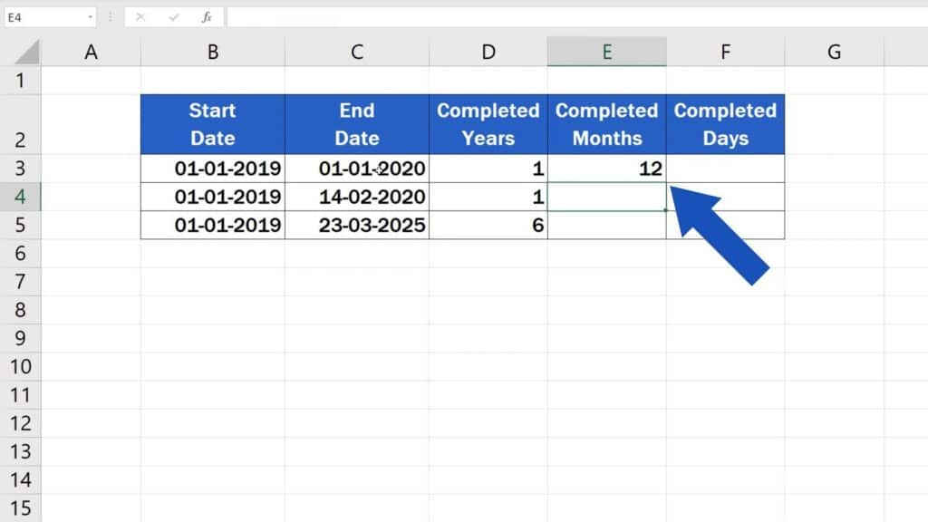 How to Calculate Difference Between Two Dates in Excel - result of difference between months