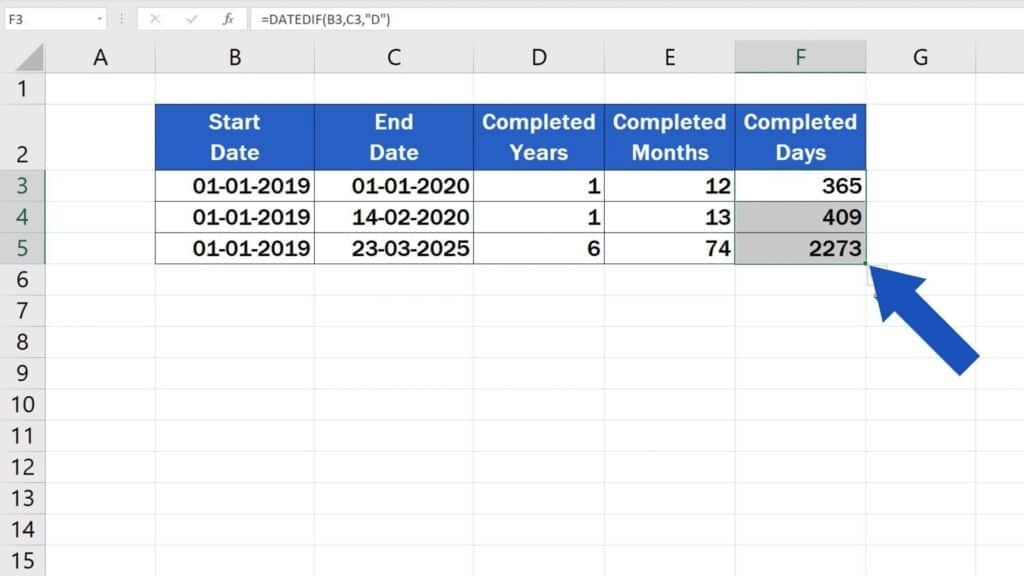 How to Calculate Difference Between Two Dates in Excel - use the same formula in more rows in excel