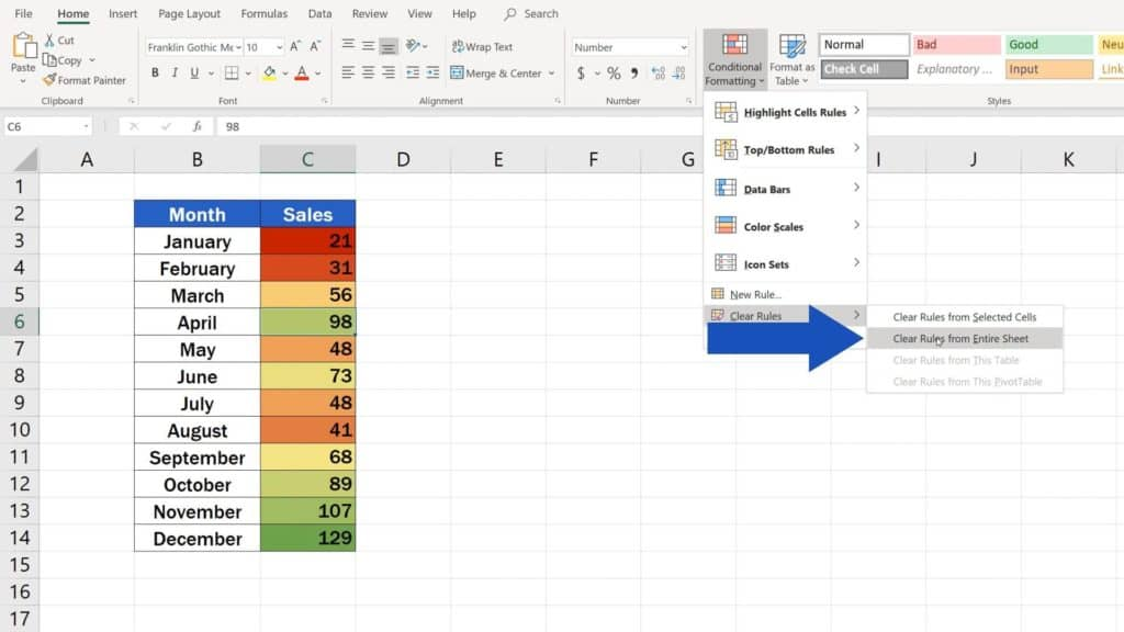 How to Use Color Scales in Excel (Conditional Formatting) - clear rules from sheet in Excel