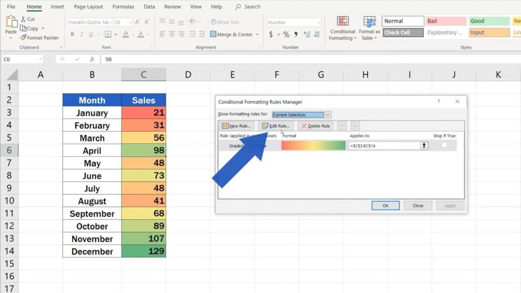 How to Use Color Scales in Excel (Conditional Formatting) - edit rule while creating heatmap