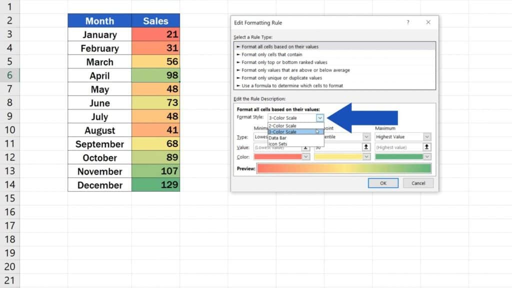 How to Use Color Scales in Excel (Conditional Formatting) - format cells bassed on their value