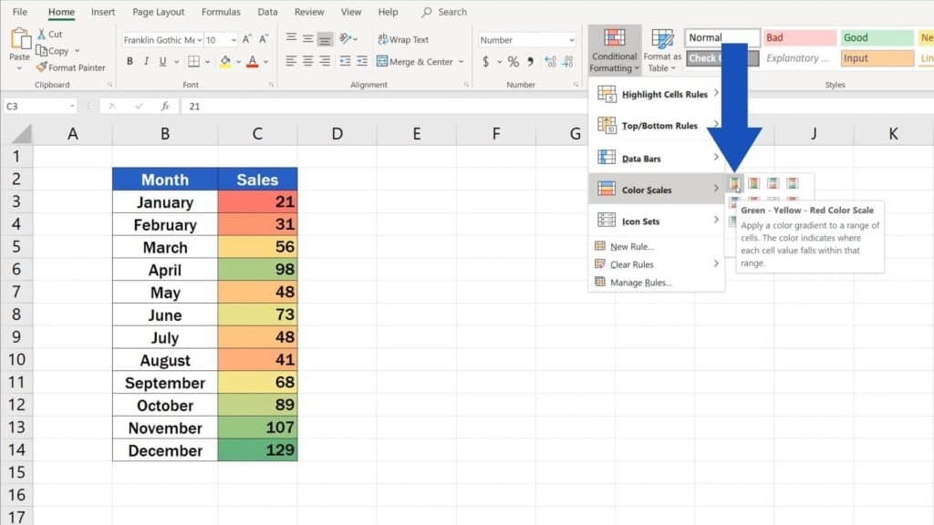 How to Use Color Scales in Excel (Conditional Formatting) - green and red color scale