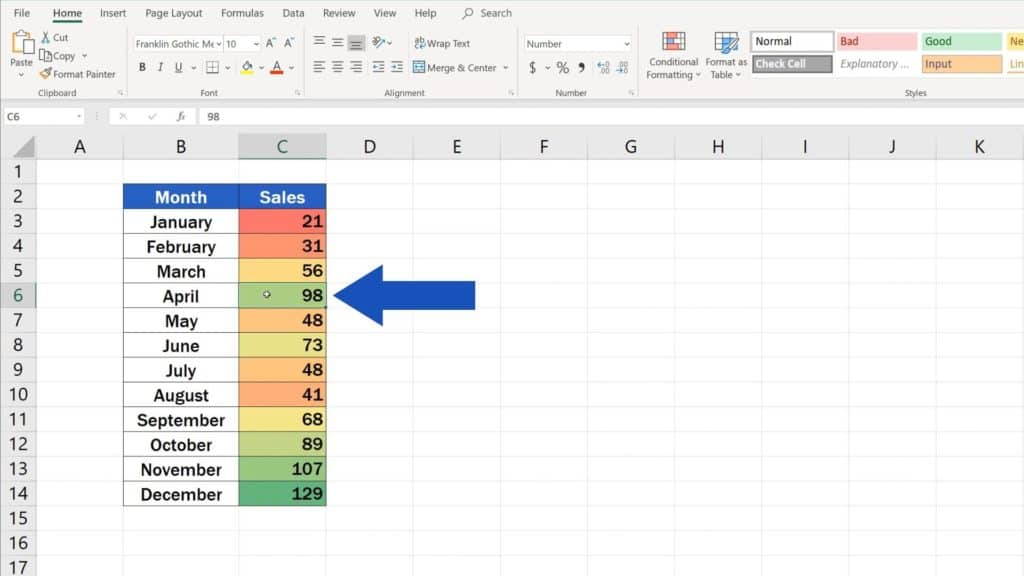 How to Use Color Scales in Excel (Conditional Formatting) - heatmap in Excel
