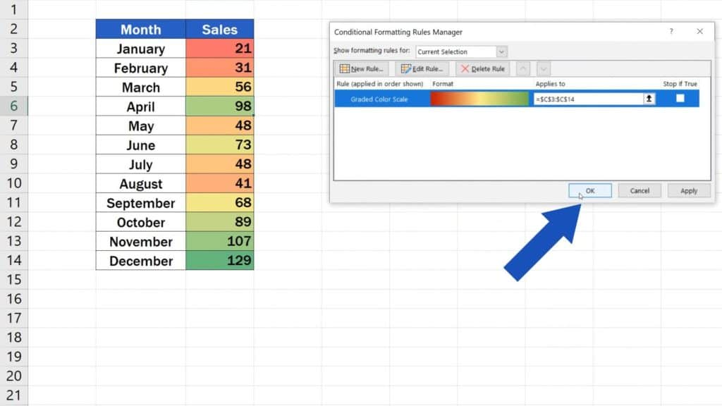 How to Use Color Scales in Excel (Conditional Formatting) - how to adjust colour in heatmap