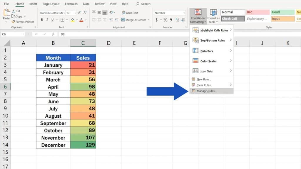 How to Use Color Scales in Excel (Conditional Formatting) - manage rules while conditional formatting