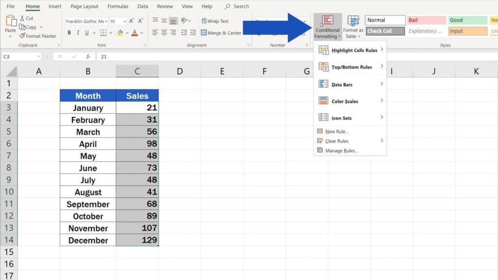 How to Use Color Scales in Excel (Conditional Formatting) - option of conditional formatting