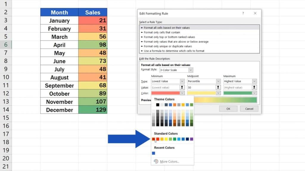 How to Use Color Scales in Excel (Conditional Formatting) - pick the colour to heatmap
