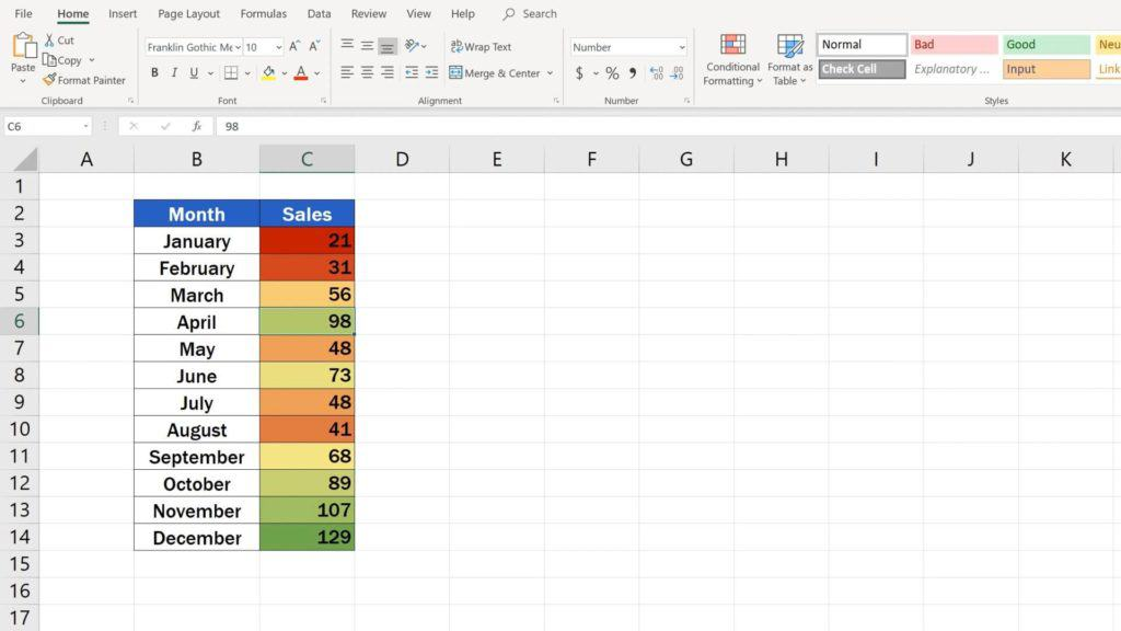 How to Use Color Scales in Excel (Conditional Formatting) - settings of the heatmap in excel
