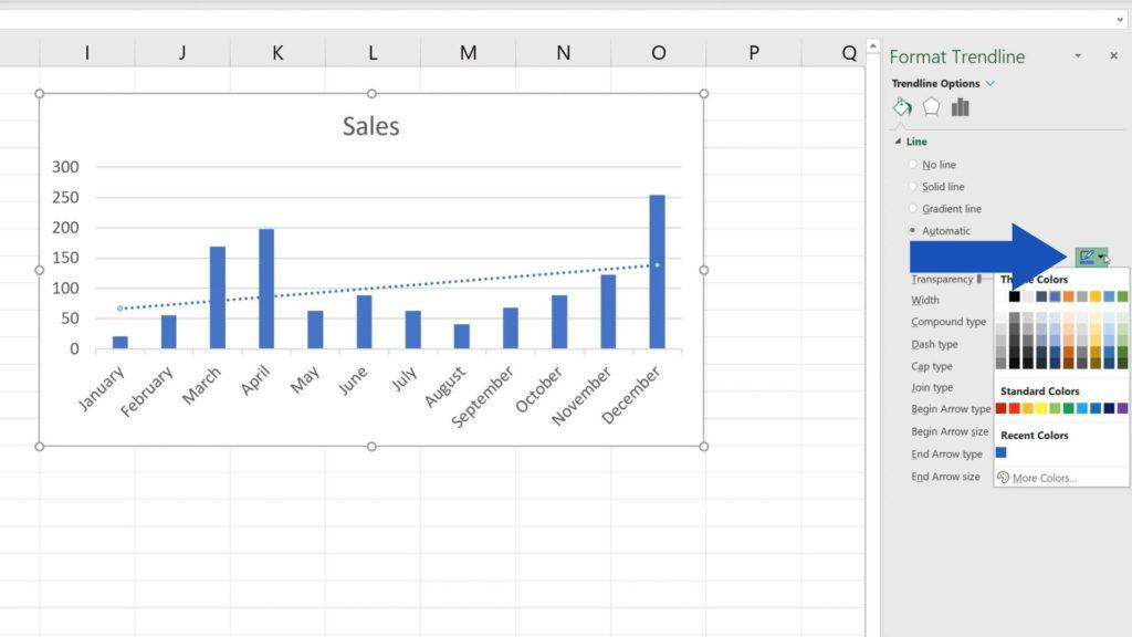 How to Add aTrendline in Excel - How to set colour of trendline in Excel