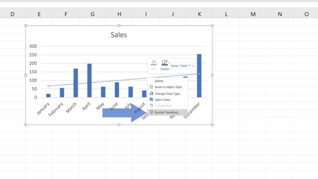 How to Add a Trendline in Excel - format trendline in Excel