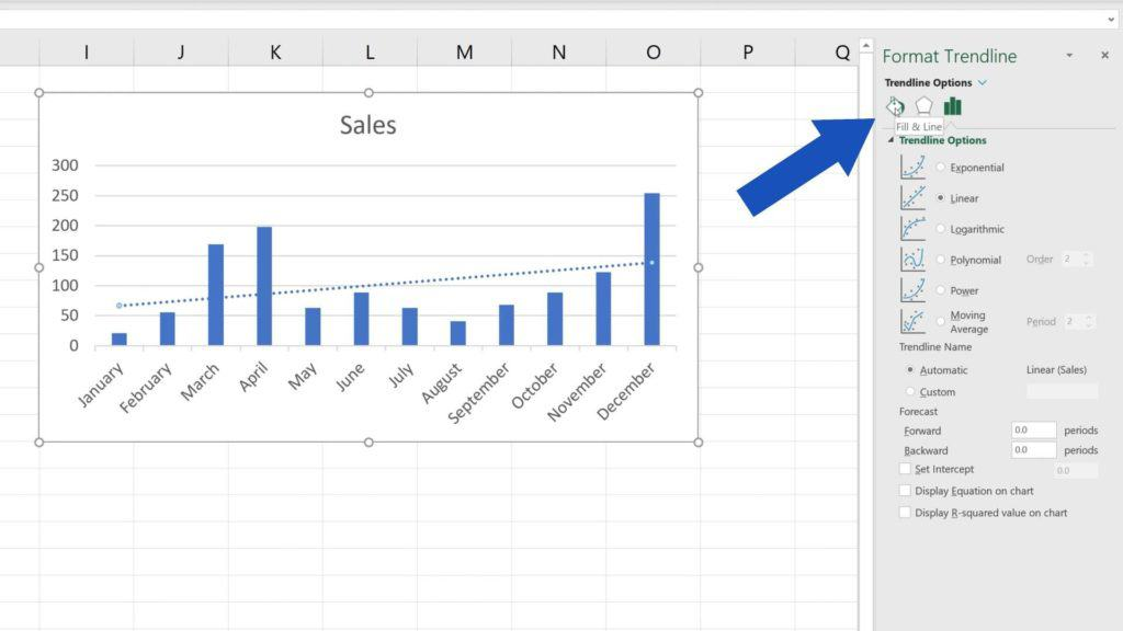 How to Add aTrendline in Excel - how to fill and line trendline in Excel
