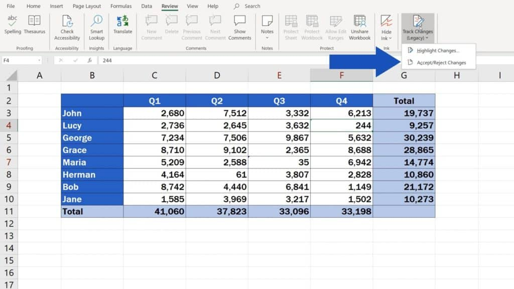 How to Track Changes in Excel - Accept changes
