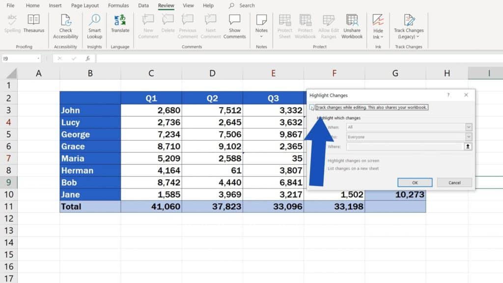 How to Track Changes in Excel - how to reject track changes in Excel