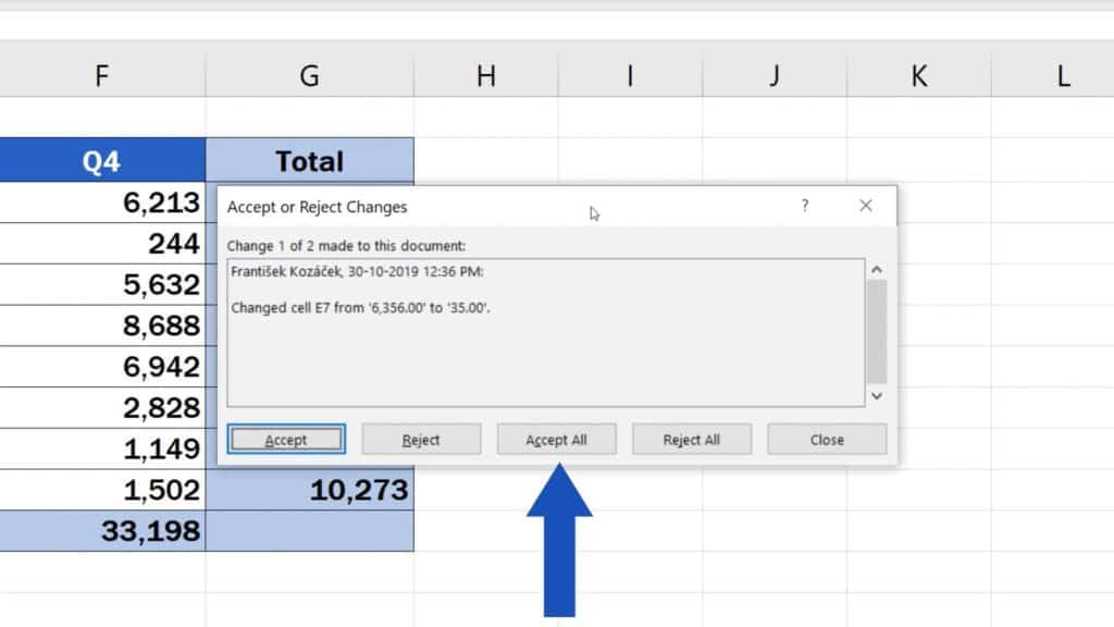 How to Track Changes in Excel - reject changes