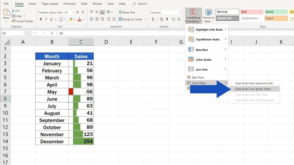 Try out Data Bars in Excel for clear graphical data representation - how to remove data bars in Excel