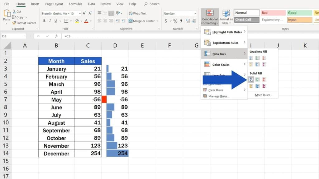 Try out Data Bars in Excel for clear graphical data representation - how to represent data visually in Excel