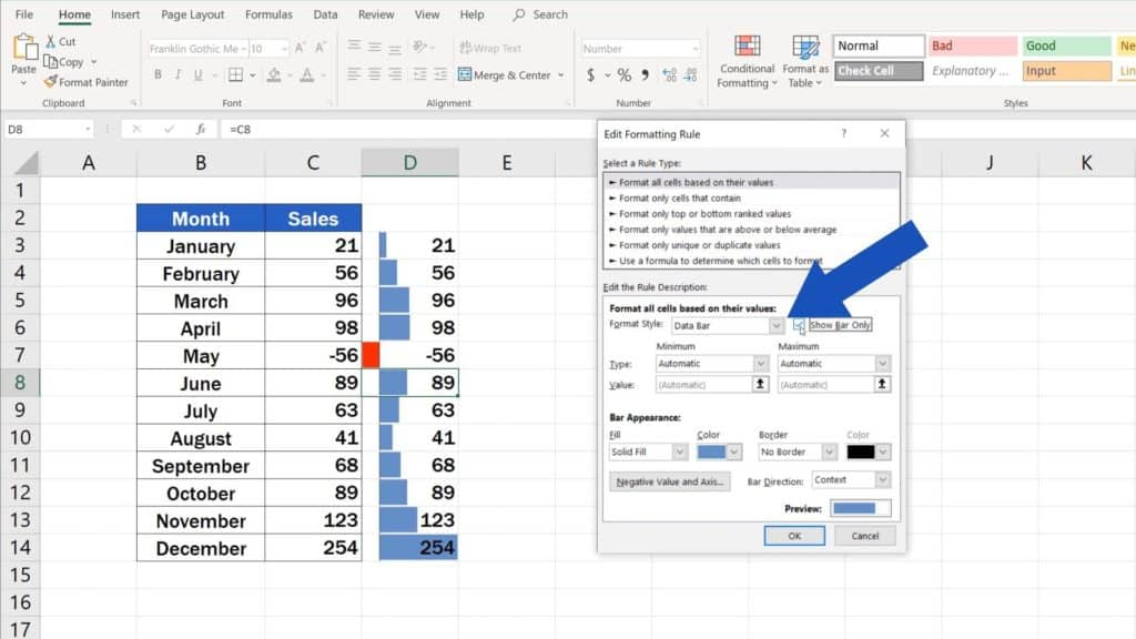 Try out Data Bars in Excel for clear graphical data representation - how to show only bar in Excel, without numbers